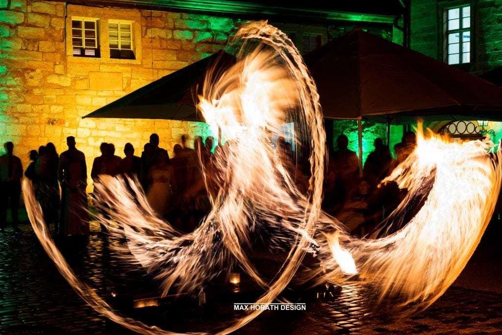 Feuershow für einen Kunden auf Schloß Thurnau